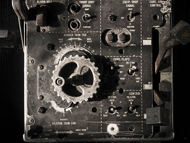 Old Aircraft instruments panel stock photo