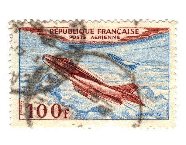Old Airmail Briefmarke aus Frankreich – Foto