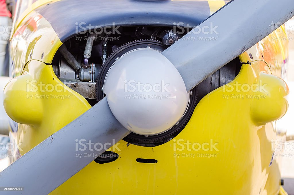 Old Airplane Front Propeller stock photo
