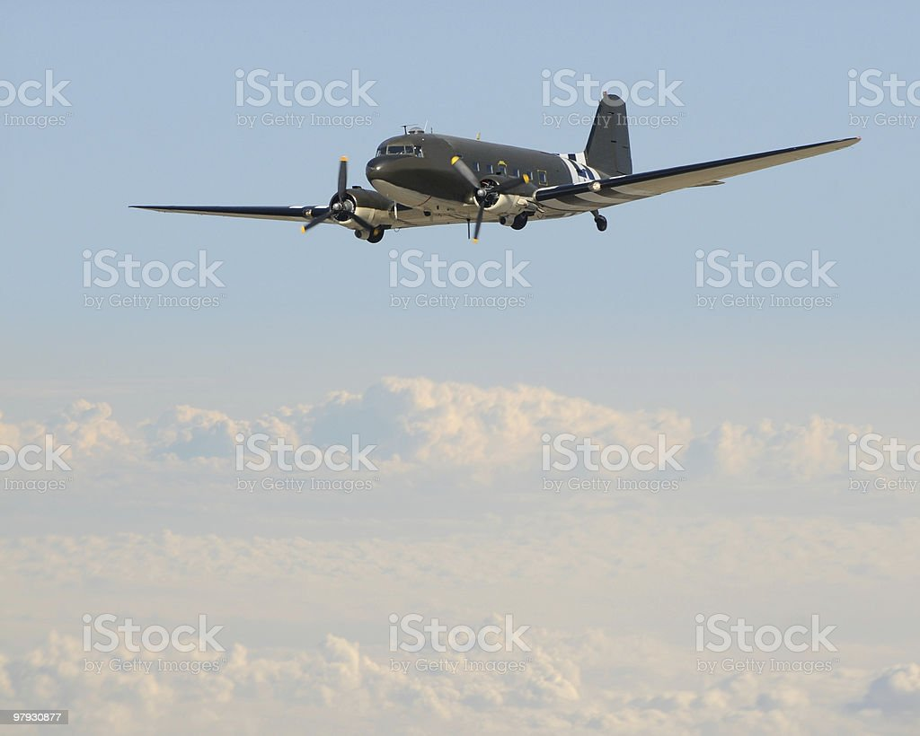 Old airplane in flight royalty-free stock photo