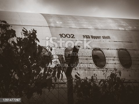 Berlin/Germany - April 21, 2014 : Old airplane in Tempelhof airport. Black and white photo