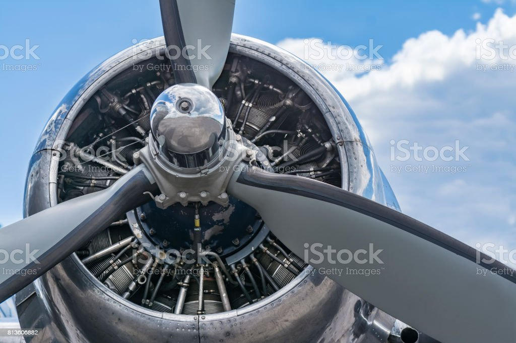Old airplane radial engine stock photo