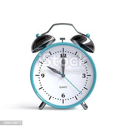 istock Old alarm clock on white background - 10 o'clock - 3d illustration rendering 1058439572