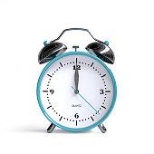istock Old alarm clock on white background - 12 o'clock - 3d illustration rendering 1058439564