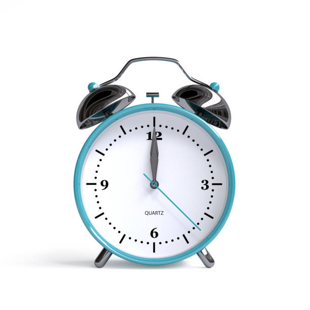 old alarm clock on white background - 12 o'clock - 3d illustration rendering - clock стоковые фото и изображения