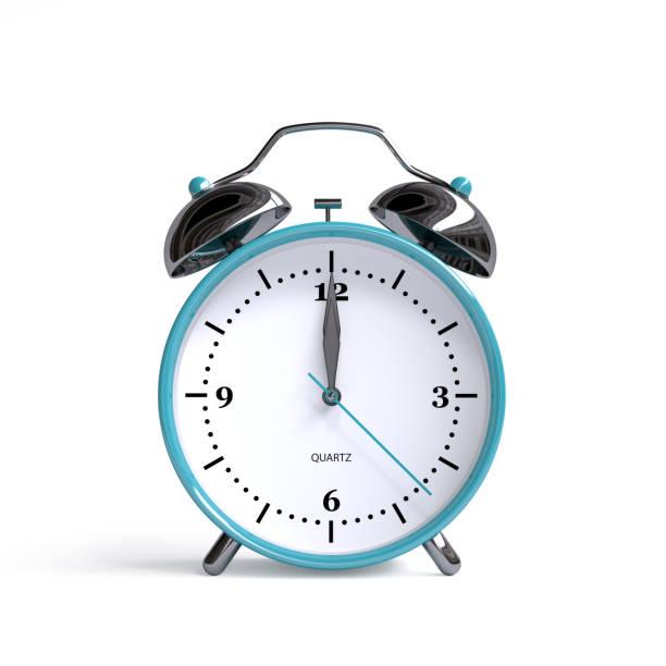 Old alarm clock on white background - 12 o'clock - 3d illustration rendering stock photo