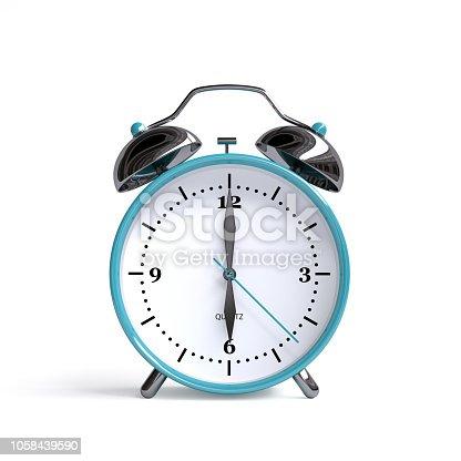 Old alarm clock on white background - 6 o'clock - 3d illustration rendering