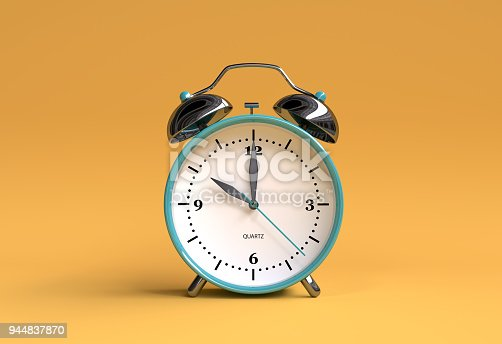 old alarm clock on yellow background - 10 o'clock - 3d illustration rendering