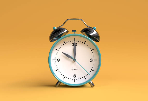old alarm clock on yellow background - 10 o'clock - 3d illustration rendering - alarm stock pictures, royalty-free photos & images