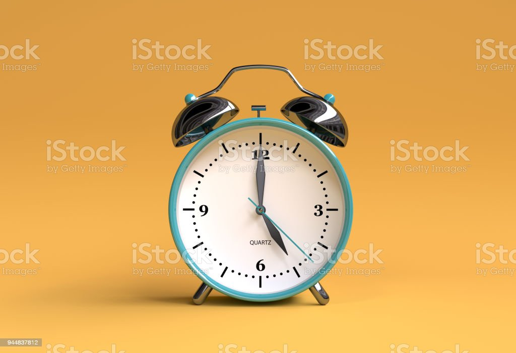 old alarm clock on yellow background - 5 o'clock - 3d illustration rendering stock photo
