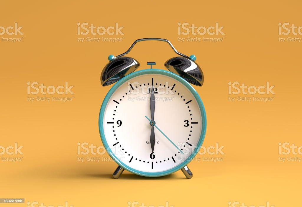 alten Wecker auf gelbem Hintergrund - 06:00 - 3d abbildung Rendern – Foto