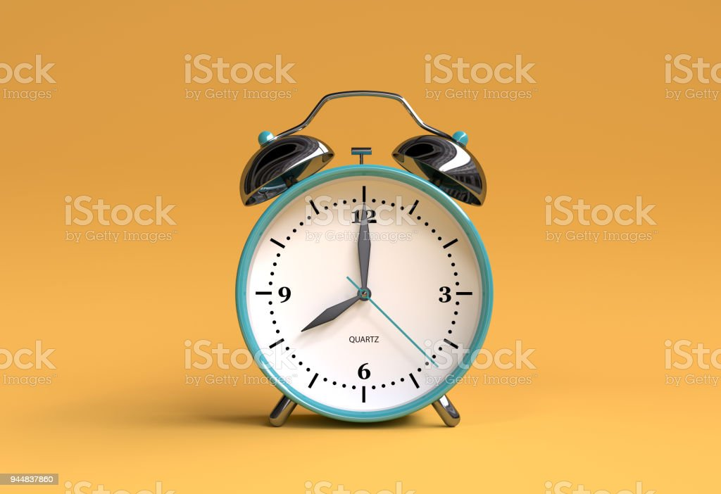 old alarm clock on yellow background - 8 o'clock - 3d illustration rendering stock photo