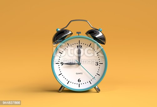 istock old alarm clock on yellow background - 9 o'clock - 3d illustration rendering 944837866
