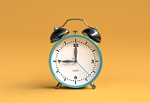 old alarm clock on yellow background - 9 o'clock - 3d illustration rendering