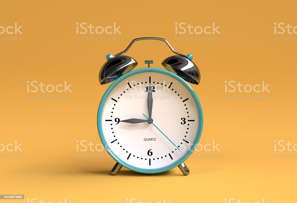 old alarm clock on yellow background - 9 o'clock - 3d illustration rendering stock photo