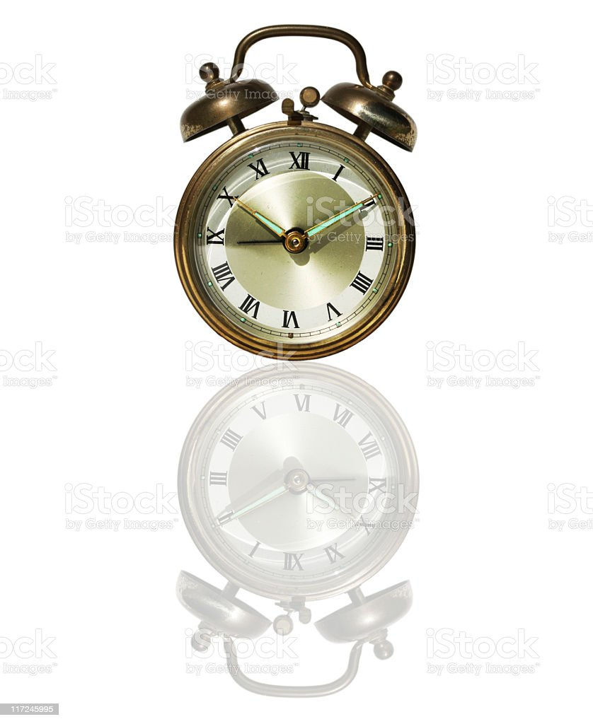 Old alarm clock. stock photo