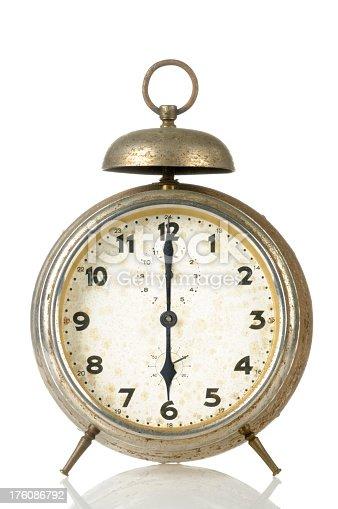 Old alarm clock at 18:00