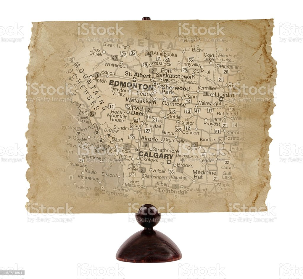 Old Alberta Map stock photo