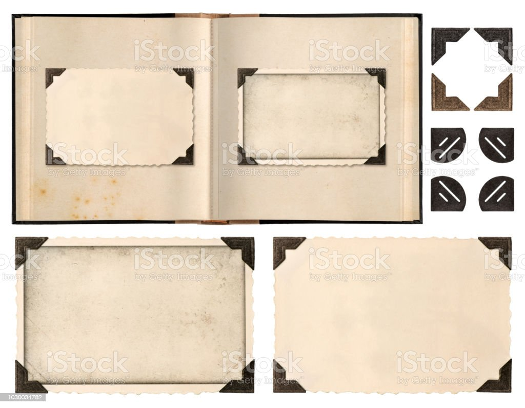 Old album book page photo frames corners isolated - Zbiór zdjęć royalty-free (Album na zdjęcia)