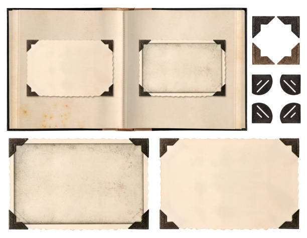 Old album book page photo frames corners isolated Old album book page with photo frames and corners isolated on white background album stock pictures, royalty-free photos & images