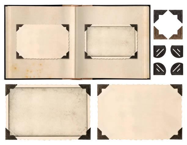 oude fotolijsten album boek pagina hoeken geïsoleerd - foto stockfoto's en -beelden