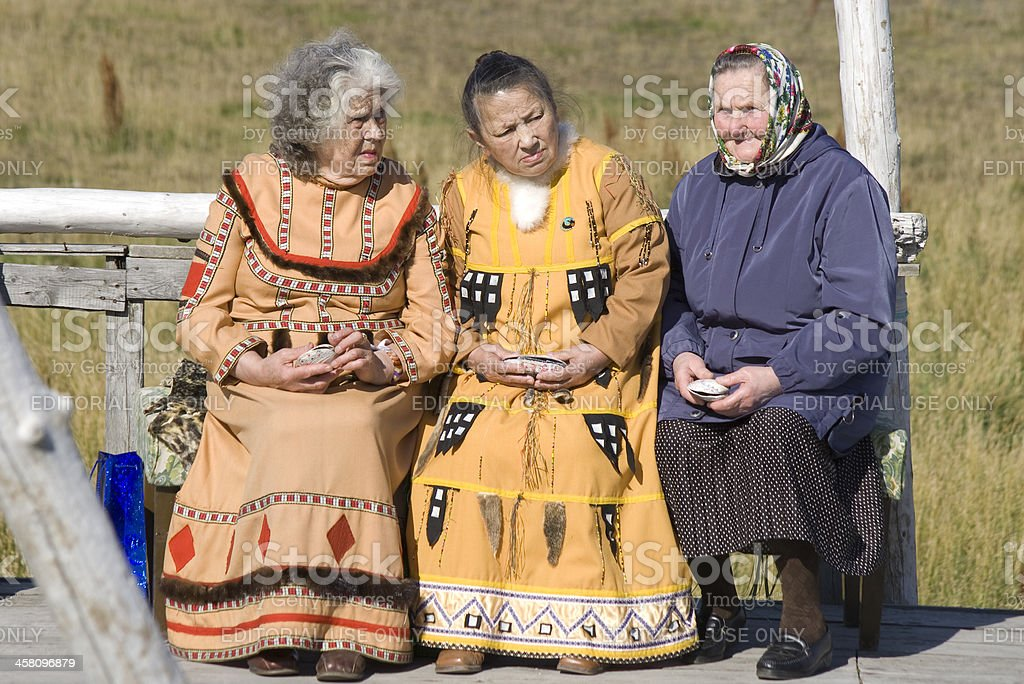 Old Aleut women at the Native festival stock photo