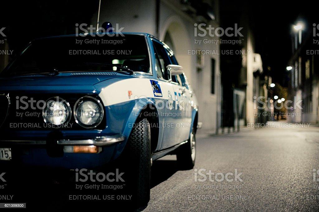 Old Alfa Romeo 'Alfetta' Police car. Patrol service stock photo