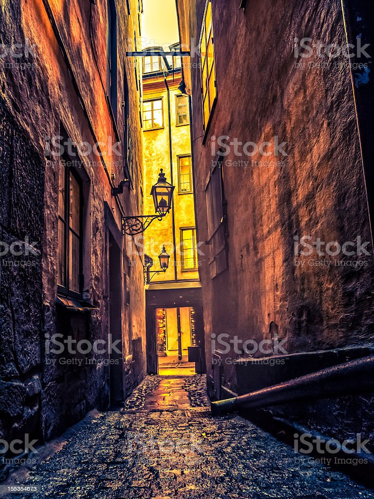 Old Alley In Stockholm royalty-free stock photo