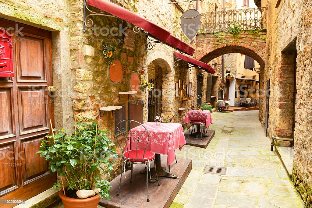 Old alley in Tuscany stock photo