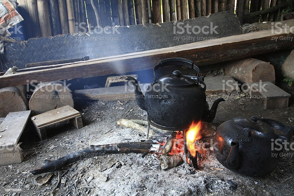 Old aluminum kettle steaming royalty-free stock photo