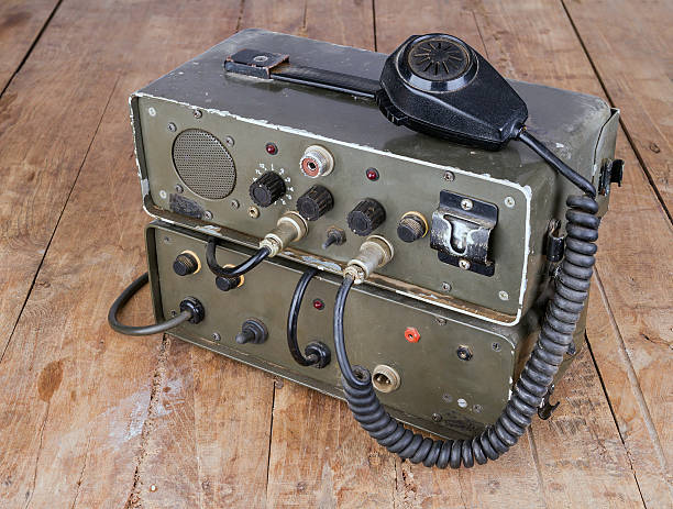 old amateur ham radio on wooden table - ham radio stock photos and pictures