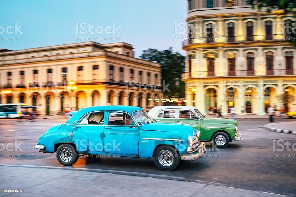 Old American car driving at a street of Havana, Cuba stock photo