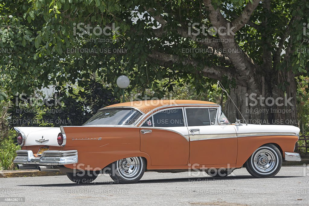old american car driving in vinales, Cuba royalty-free stock photo