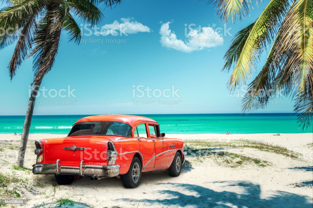Old American Car On Cuba Beach Royalty Free Stock Photo