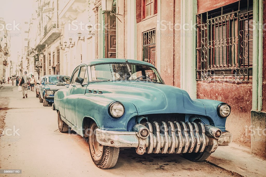 Old American Car On Havana Street Vintage Style Stock Photo & More ...