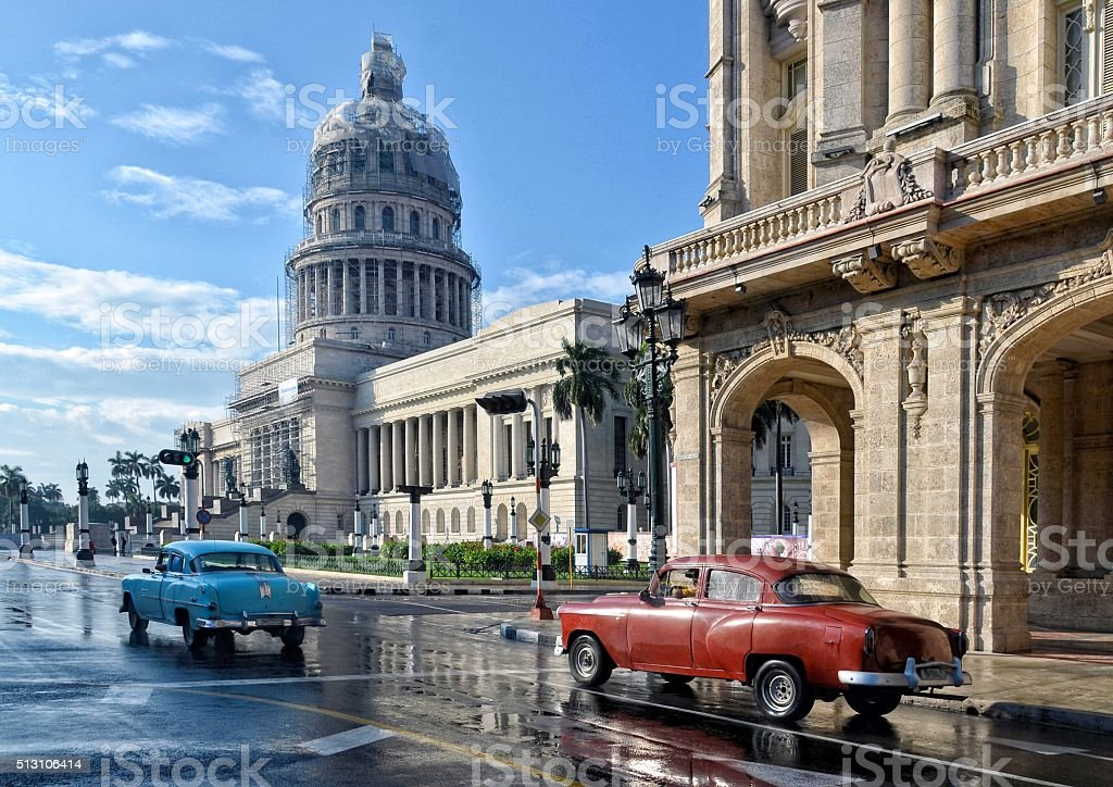Old American car on street in Havana, Cuba stock photo