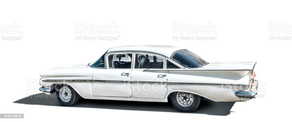 Old American car on white Background with clipping Path royalty-free stock photo
