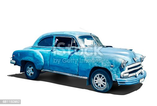 Old American car on white Background with clipping Path