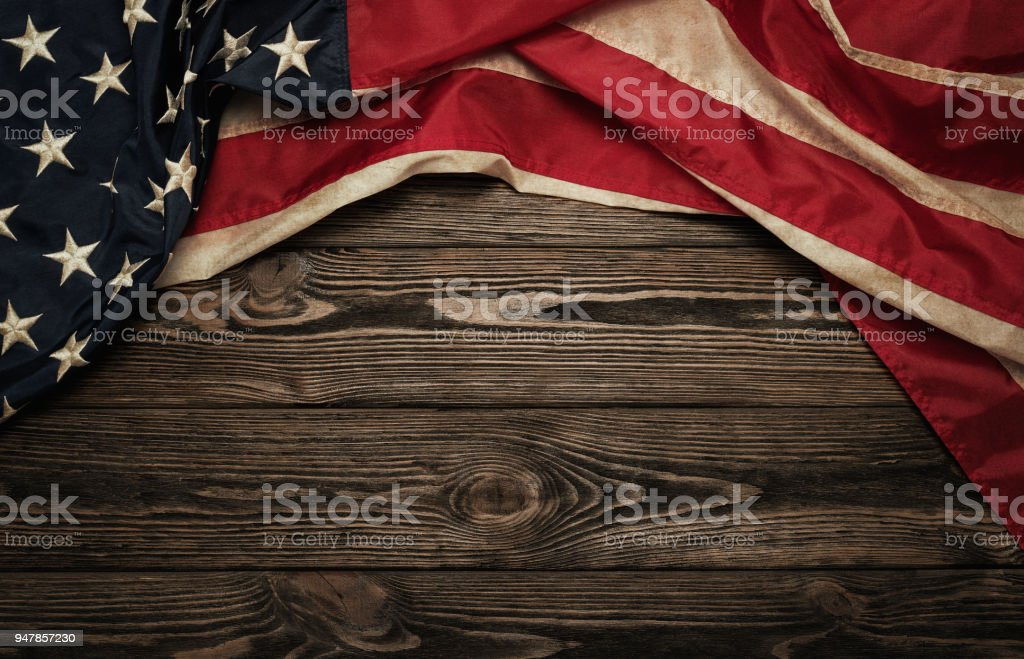 Old american flag stock photo