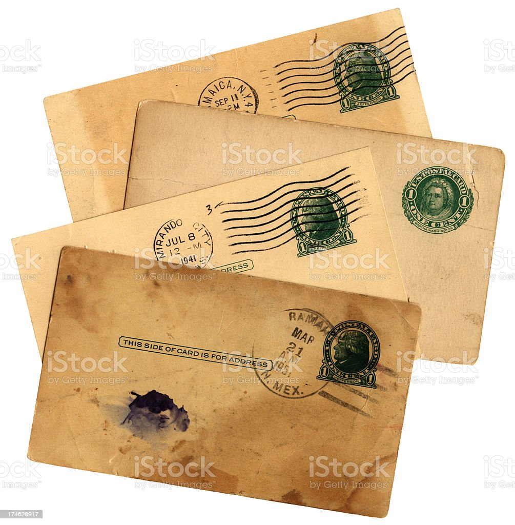 Old American postcard group royalty-free stock photo