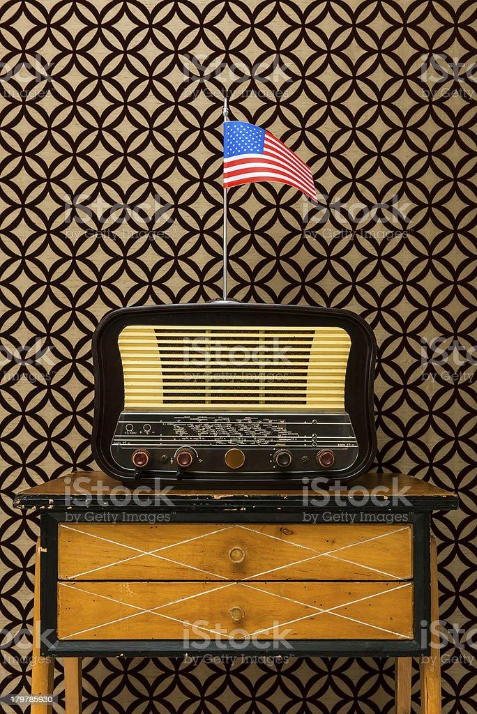 Old american radio on desk royalty-free stock photo