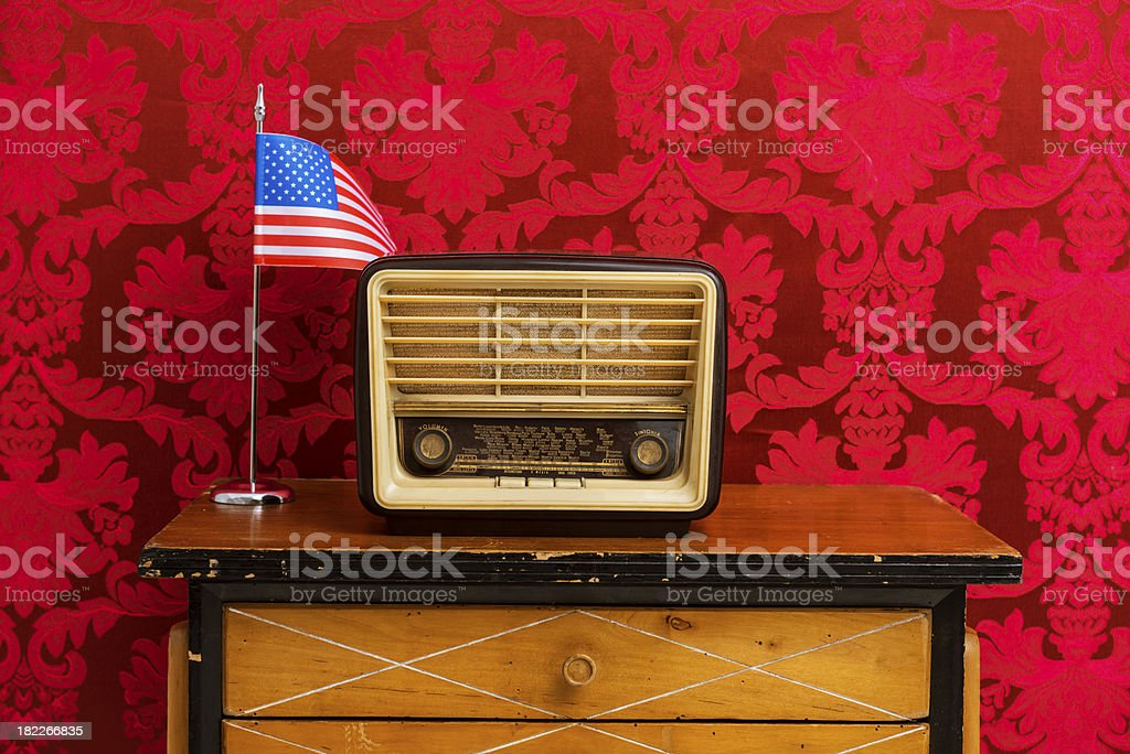 Old american radio on table royalty-free stock photo
