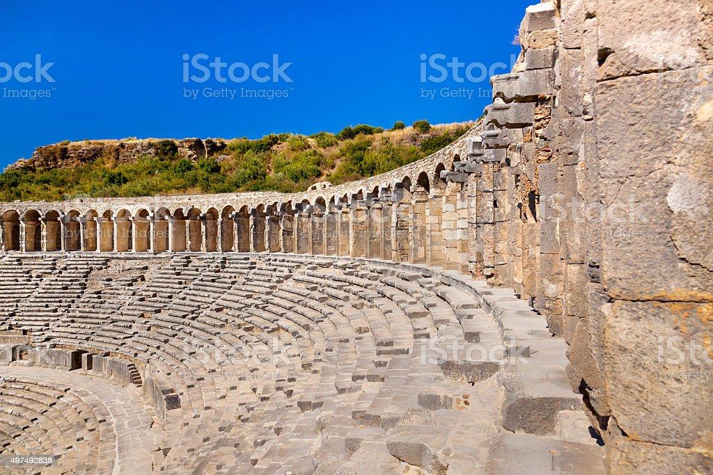 Old amphitheater Aspendos in Antalya, Turkey stok fotoğrafı