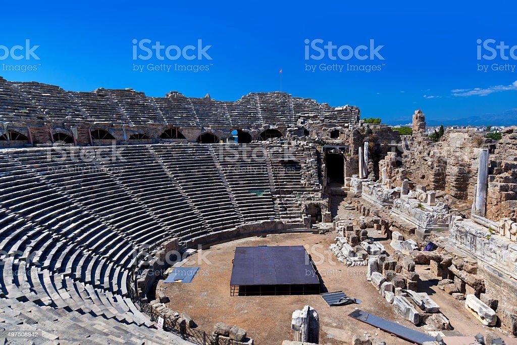 Old amphitheater in Side, Turkey stok fotoğrafı