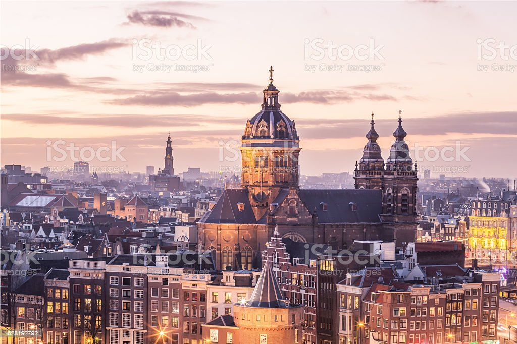 Old Amsterdam landmark stock photo