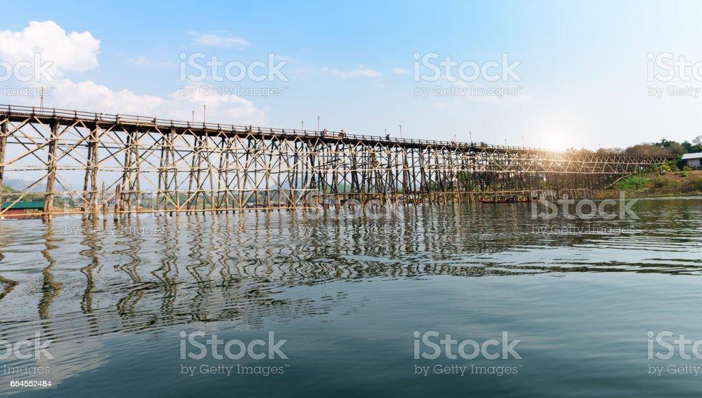 old an long wooden bridge at Sangklaburi stock photo