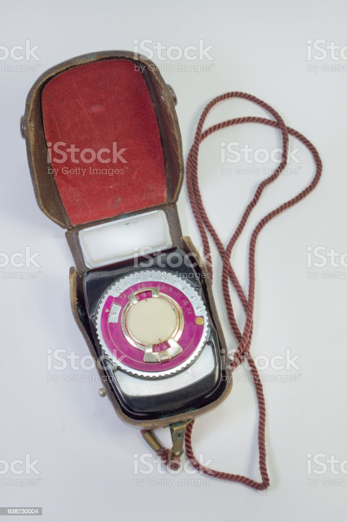Old Analog Light Meter In Leather Case On Strap Stock Photo