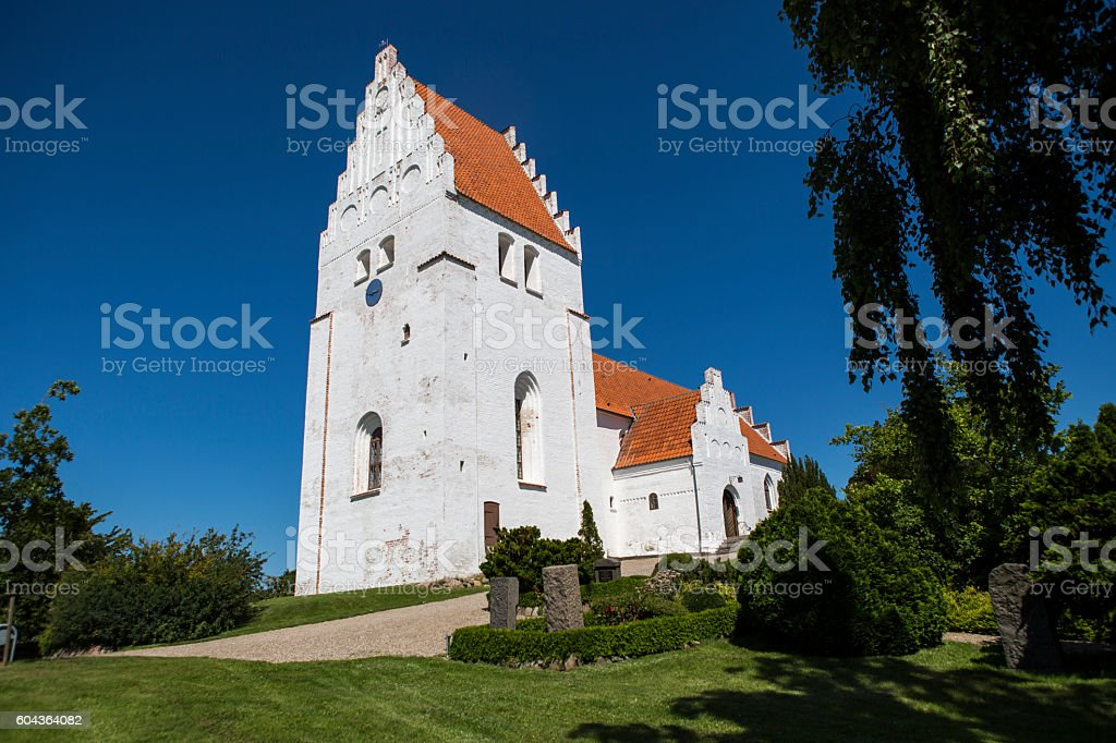 Old Ancient Church in Denmark stock photo