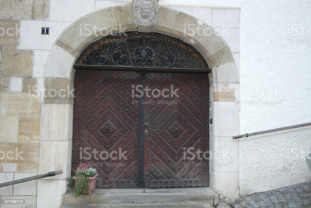 Old ancient door stock photo