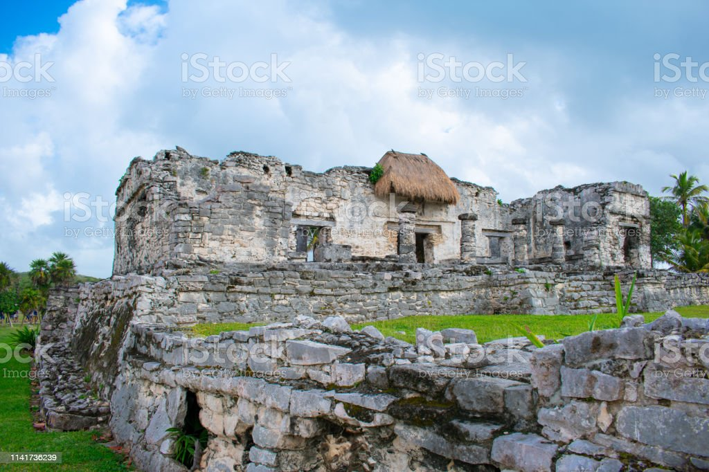 Old ancient Mayan Mexican ruins of City in Tulum, Mexico....